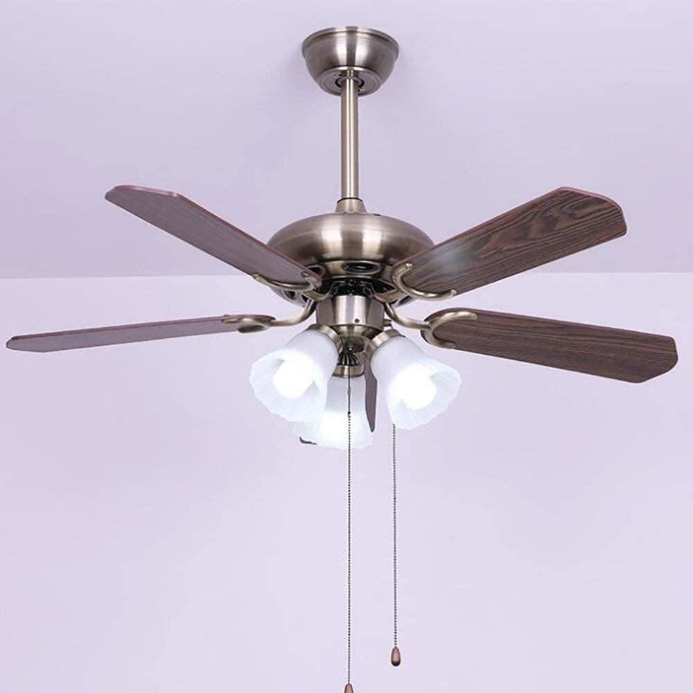 Ceiling fan light 42 inch fan light ceiling fan light American retro wood leaf fan light home energy saving mute restaurant ceiling fan light