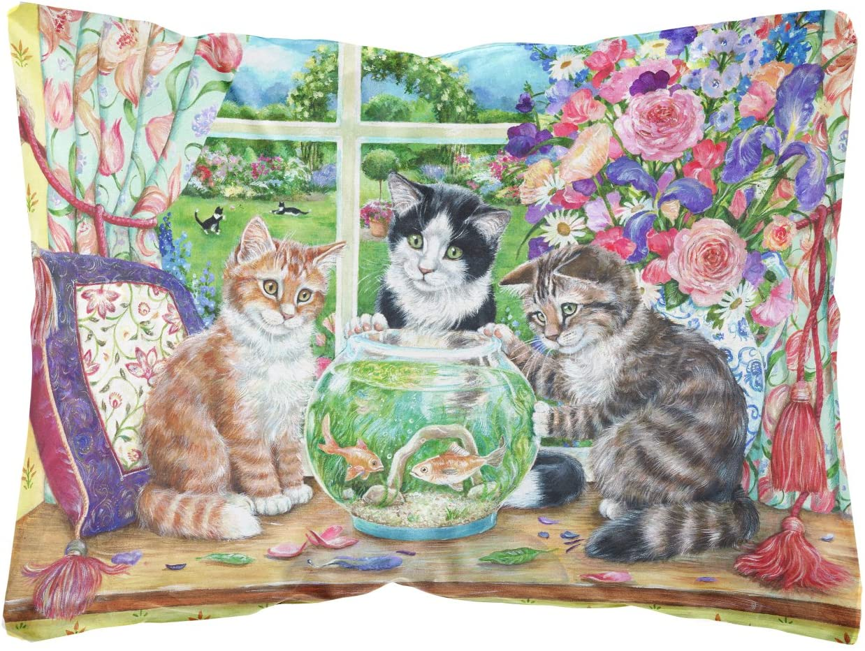 Caroline's Treasures CDCO0325PW1216 Cats Just Looking in The Fish Bowl Fabric Decorative Pillow, 12H x16W, Multicolor