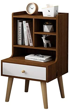 KTOL Modern Multifunction Nightstand Cabinet with Drawer,80cm Bedside Furniture with 4 Table Legs 5 Open Shelf MDF Easy Assembly Bedroom Accessories Bedside Table Black Walnut 1 Drawer
