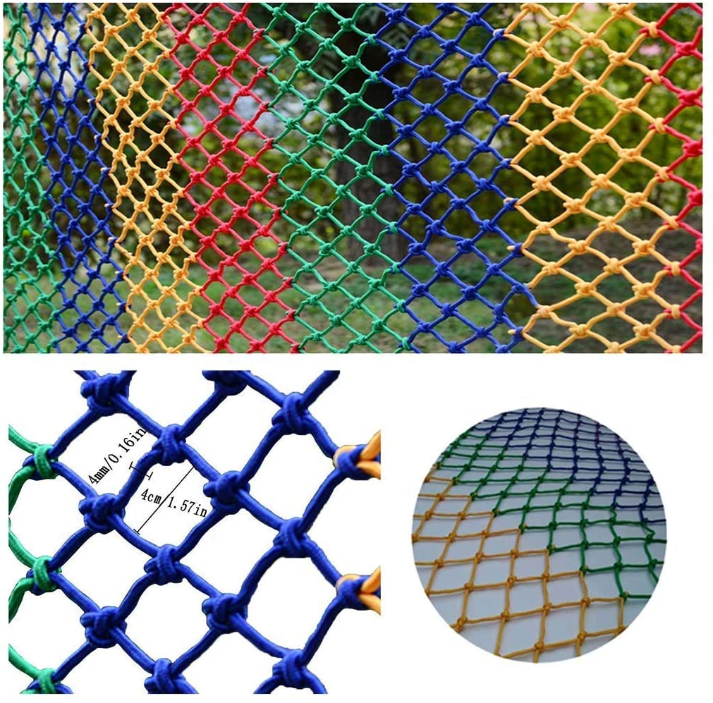 PLLP Safety Nets,Indoor Child Protection Net Stair Safety Net Shatter-Resistant Net Kindergarten Color Decorative Net Balcony Fence Net Hand Weaving Traditional Structure 40X40Mm Mesh 4 Mm Rope,4x7m