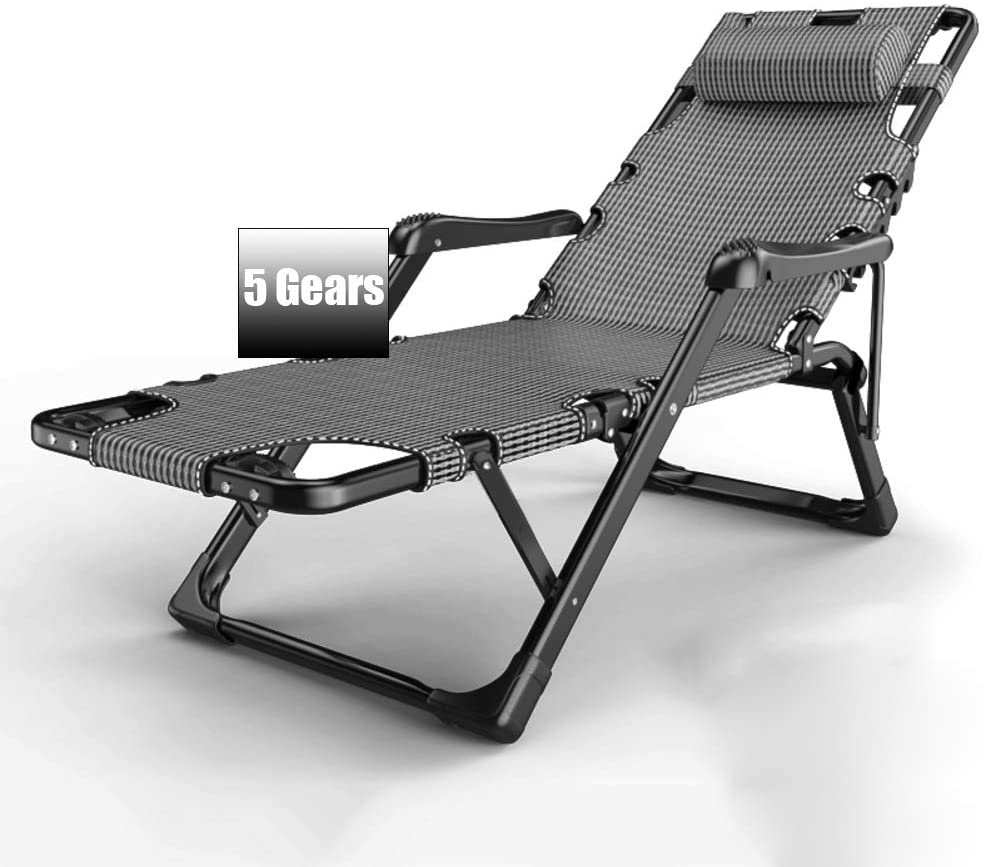 OLLOLCCY Zero Gravity Reclining Lounge Chair,Folding Patio Lawn Pool Chair Adjustable Outdoor Chaise Lounge Chair with Headrest Cup Holder B