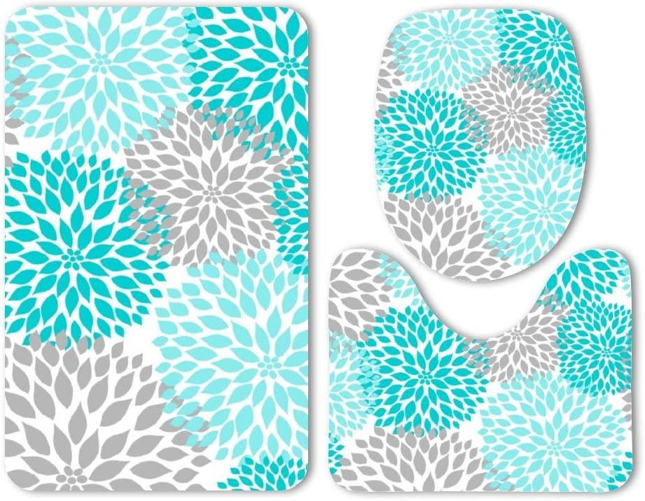 Yilooom 3 Pack Bath Mat Set, Turquoise Blue Gray Floral Dahlias Blossoms Absorbent Memory Foam Soft Shower Bath Rugs Contour Mat and Lid Cover,Non Slip Velvet Bathrug,Shower Toilet Bathmats Carpet