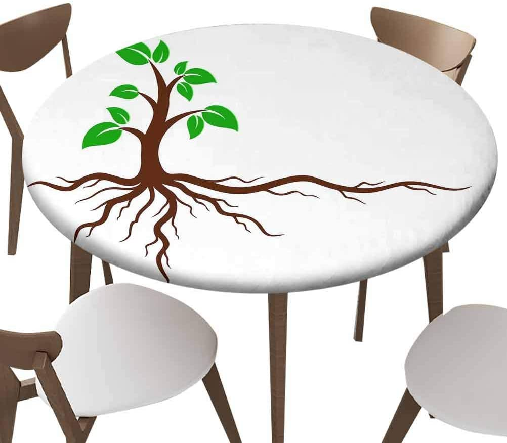 SfeatrutMAT Elastic Edged Polyester Fitted Table Cover,Green Tree with Roots,Fits up 40