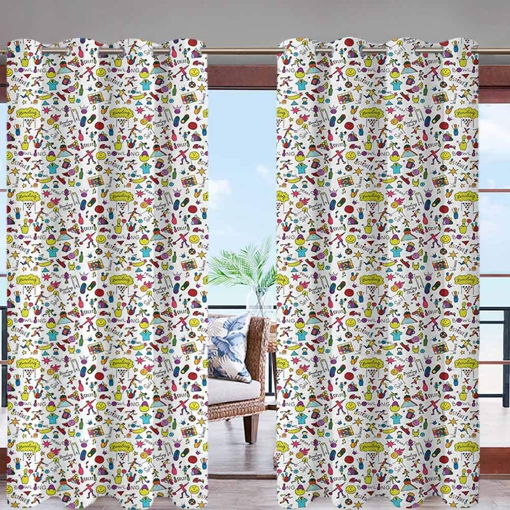 Grommet Modern Print Outdoor Window Curtains Cartoon Style Cheerful Hobby Pattern W108 x L96 for Patio, Pergola, Porch, Deck, Lanai, Garden and Cabana