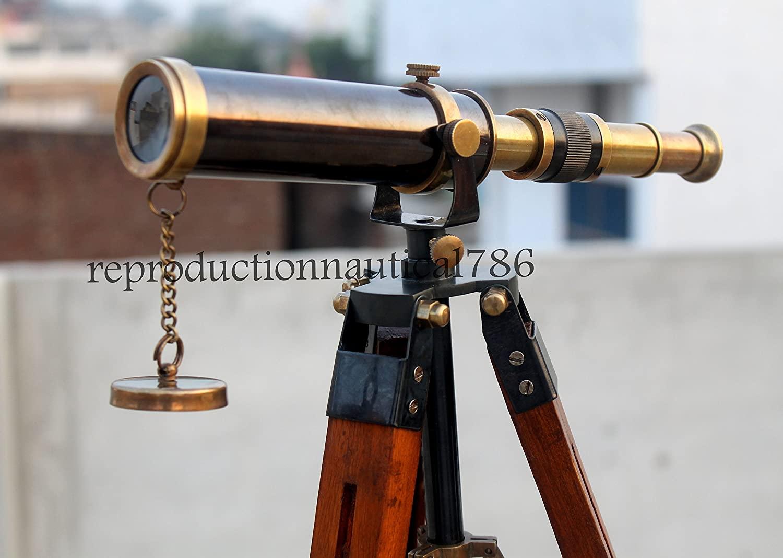 Max Engineering Enterprises Nautical Design Antique Brass U.S Navy Spyglass 9