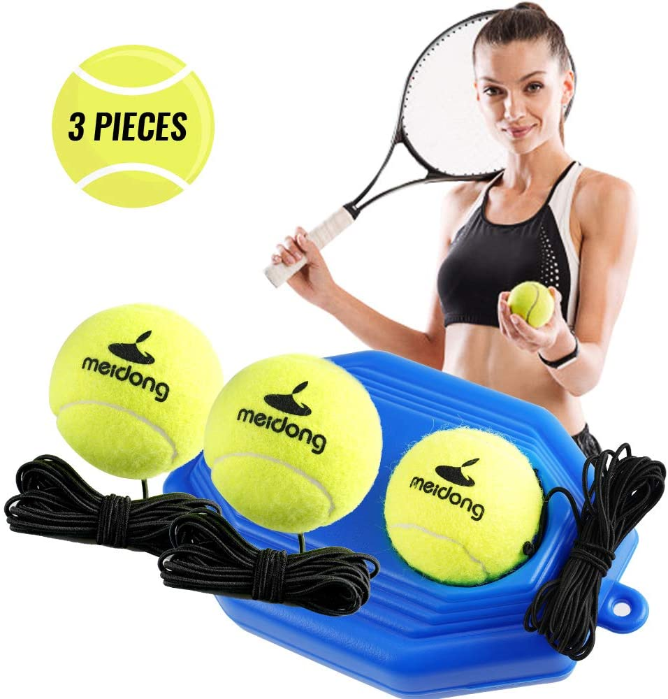 meidong Tennis Trainer Rebound Baseboard with 3 Long Rope Balls Great for Singles Training, Self-Study Practice, Tennis Training Tools for Kids Adults Beginners (Blue)