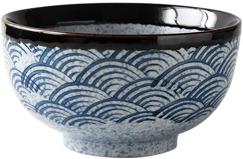 Stoneware Cereal Bowls, Ceramic Soup Bowls, Bowl Set for Salad and Pasta, Assorted Blue Wave Patterns, 32 Ounces