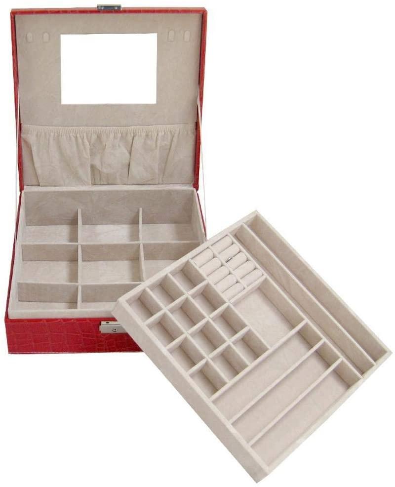 HONGGE Jewellery Box,Jewelry Storage Box Leather Square Jewelry Box 26268.5cm