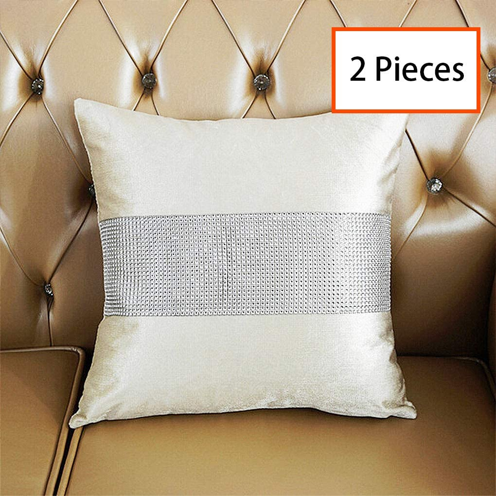 HeMiaor Set of 2 Sequins Pillow Cases Sequined Rhinestone Cushion Covers Cases for Home/Sofa/Office, 18x18 Inches, Creamy White