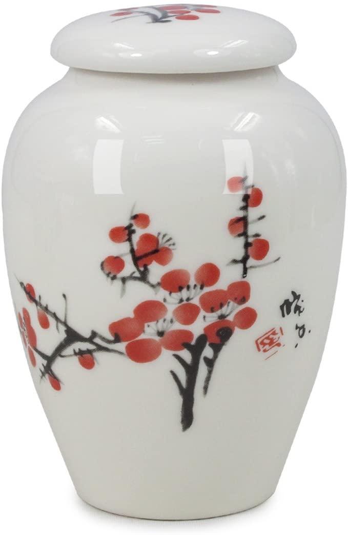 Dahlia Oriental Watercolor Painting Porcelain Tea Tin/Tea Storage/Tea Caddy, Plum Blossom