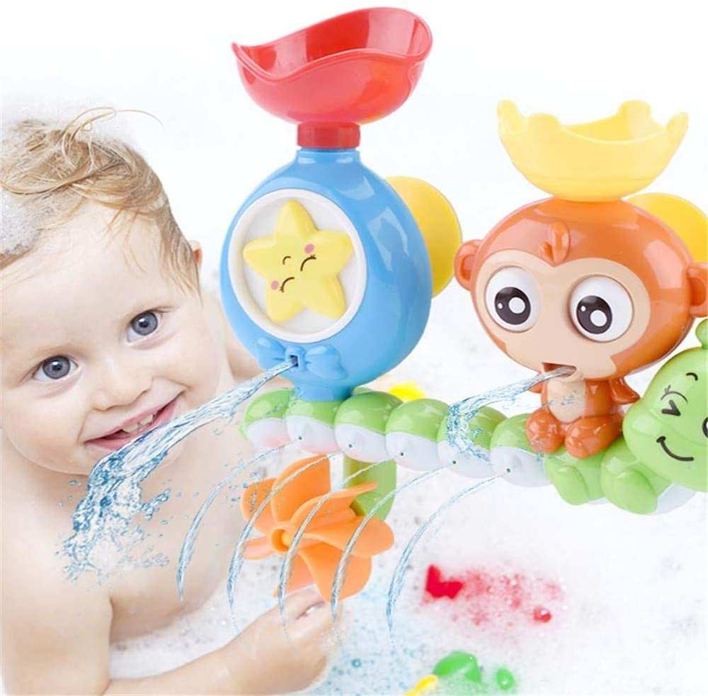WE&ZHE Bath Toys Bathtub Toys for 2 3 4 Year Old Kids Toddlers Bath Wall Toy,Waterfall Fill Spin and Flow Non Toxic,Gifts for Toddlers Boys Girls
