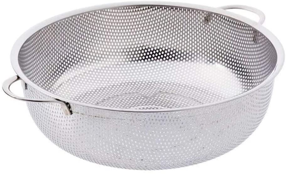 Strainer Basket 3 Legs Two Handles Drain Water Dense Hole for SPaghetti Rice Orzo Food Colander Kitchen Tools Stainless Steel Thick Gadget(28.5cm)