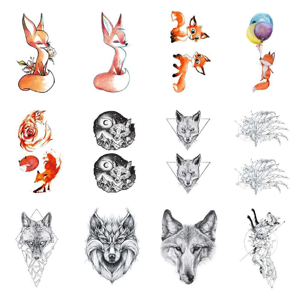 SanerLian Fox Cartoon Temporary Tattoo Sticker Waterproof Teens Boys Girls Kids Children Party Favor Decorations 10.5X6cm Set of 12