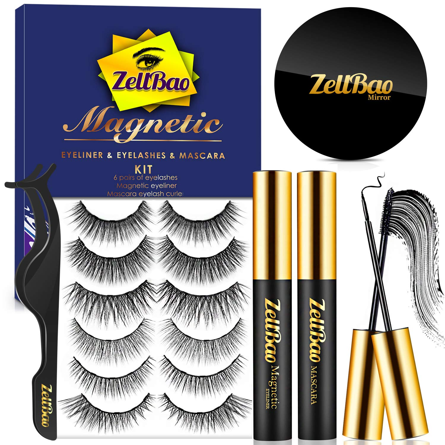 (6 Pairs) Reusable Magnetic Eyelashes, ZellBao Magnetic Eyeliner and Lashes Waterproof Magnetic Eyelashes Kit, Silk False Lashes with Mirror and Tweezers, Waterproof Magnetic Eyeliner Kit and Mascara