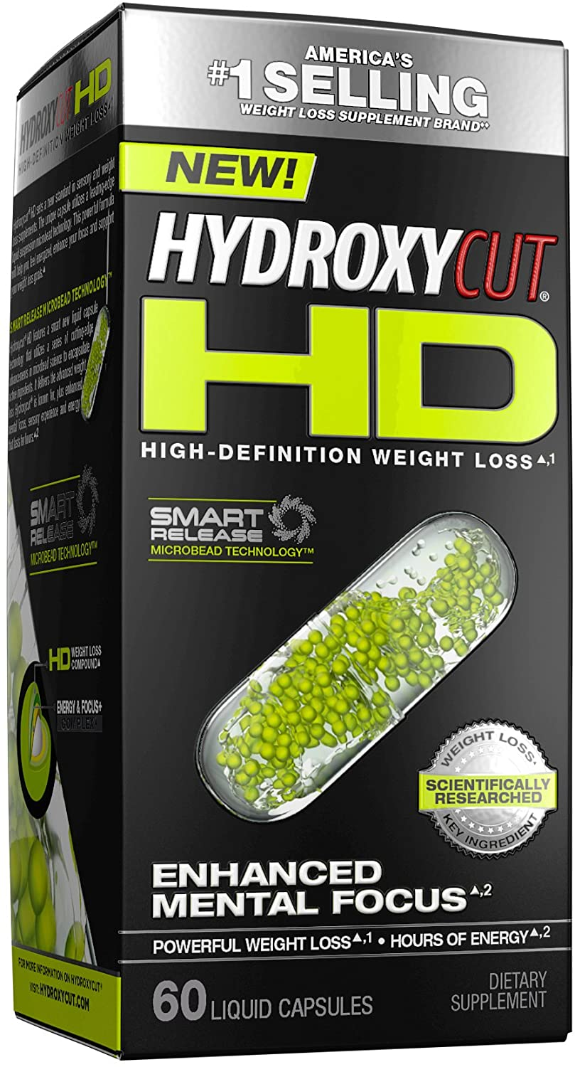 Hydroxycut HD Weight Loss Supplements, Delivers Hours of Energy, Enhanced Mental Focus & Metabolism Booster, 60 Pills