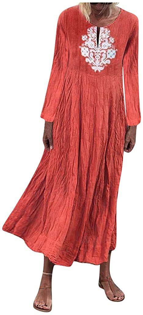 XQXCL Dresses for Women Casual Plus Size Dress Long Sleeve Retro Printed Holiday Maxi Dress Fashion A-line Long Dresses