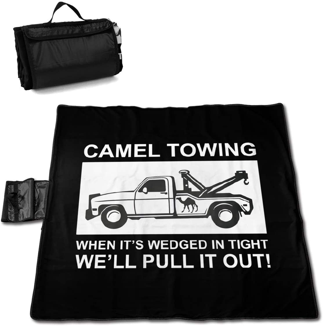 Htu Camel Towing Pull It Out Portable Printed Picnic Blanket Waterproof 59x57(in)