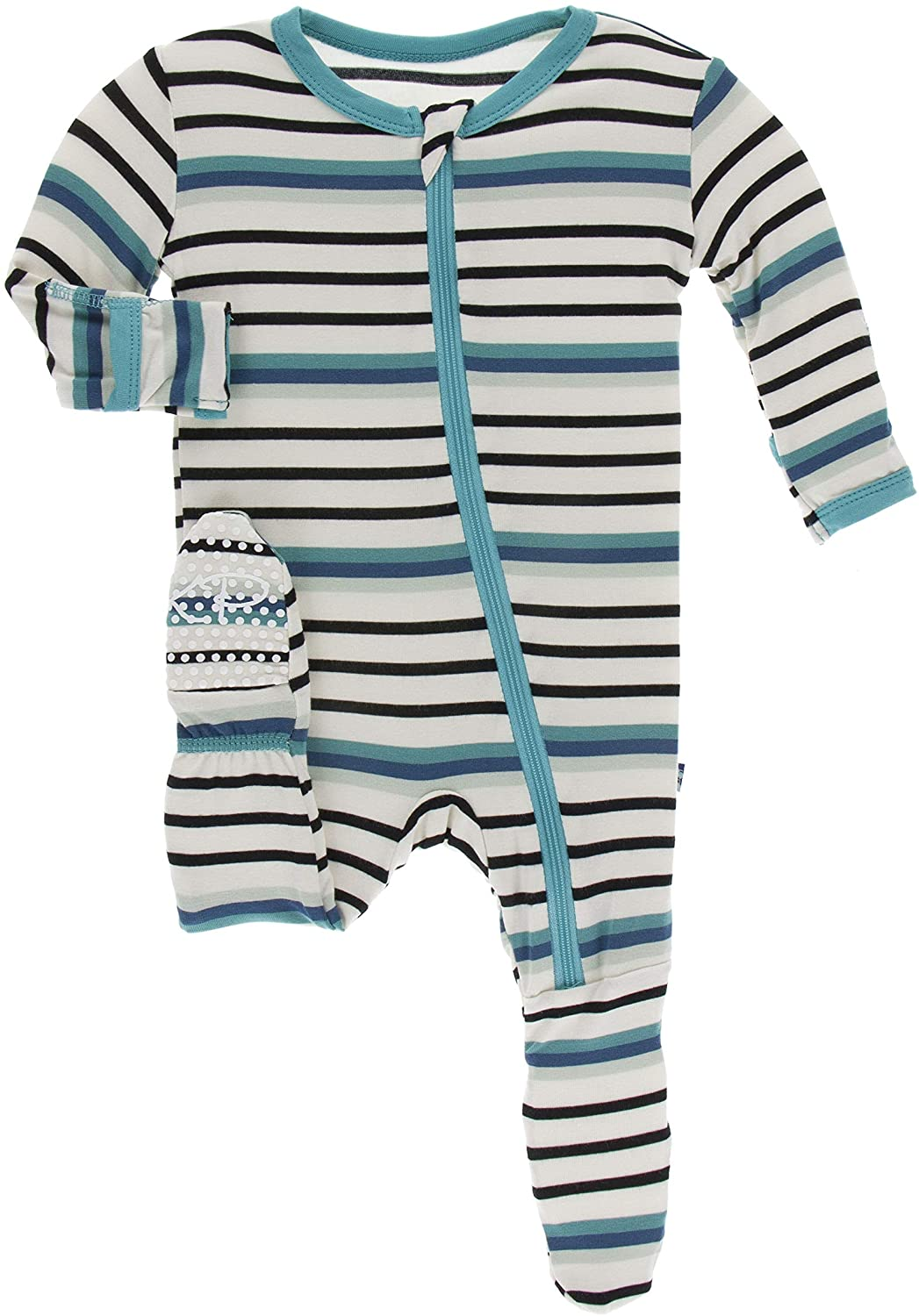 KicKee Pants Print Footie with Zipper (12-18 Months, Neptune Stripe)