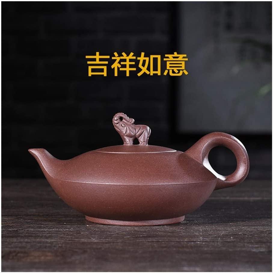 MADONG Teapot ore purple clay teapot good luck handmade tea 210ml (Color : Red)