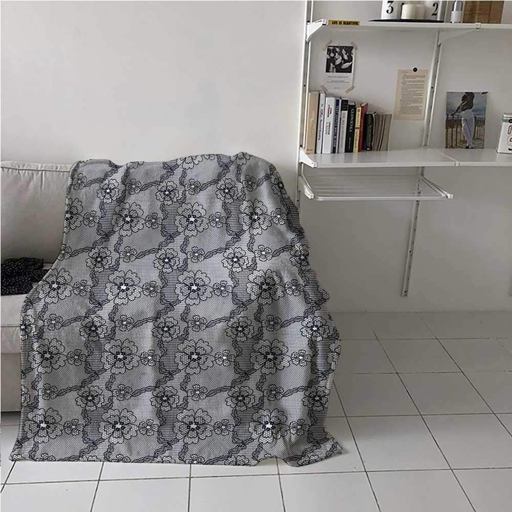 painting-home Breathable Blanket Black Lace Style Pattern with Blossoms Victorian Gothic Flowers Bridal Print All Season Breathable Blankets for Kid Baby Toddler Teenager Black White 60 x 80 Inch