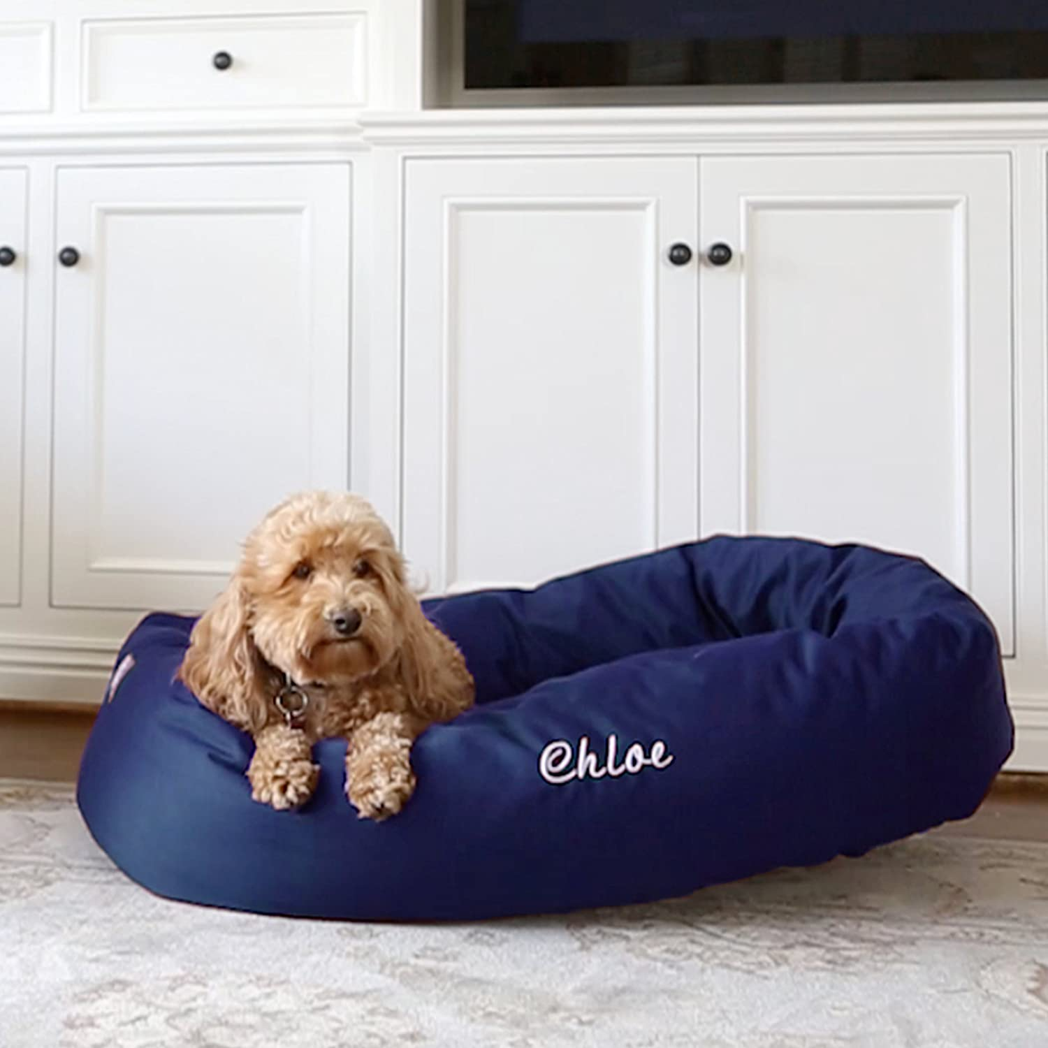 Majestic Pet Personalized Bagel Style Dog Bed - Machine Washable - Soft Comfortable Sleeping Mat - Durable Supportive Cushion - Custom Embroidered Dog Bed and Sizes