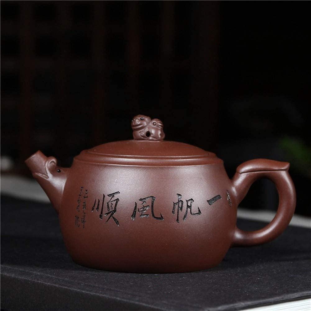 Elegdy Teapot Tea cup Purple Clay Teapot Kung Fu Tea Set Teapot Smooth Sailing (Color : Plain sailing)