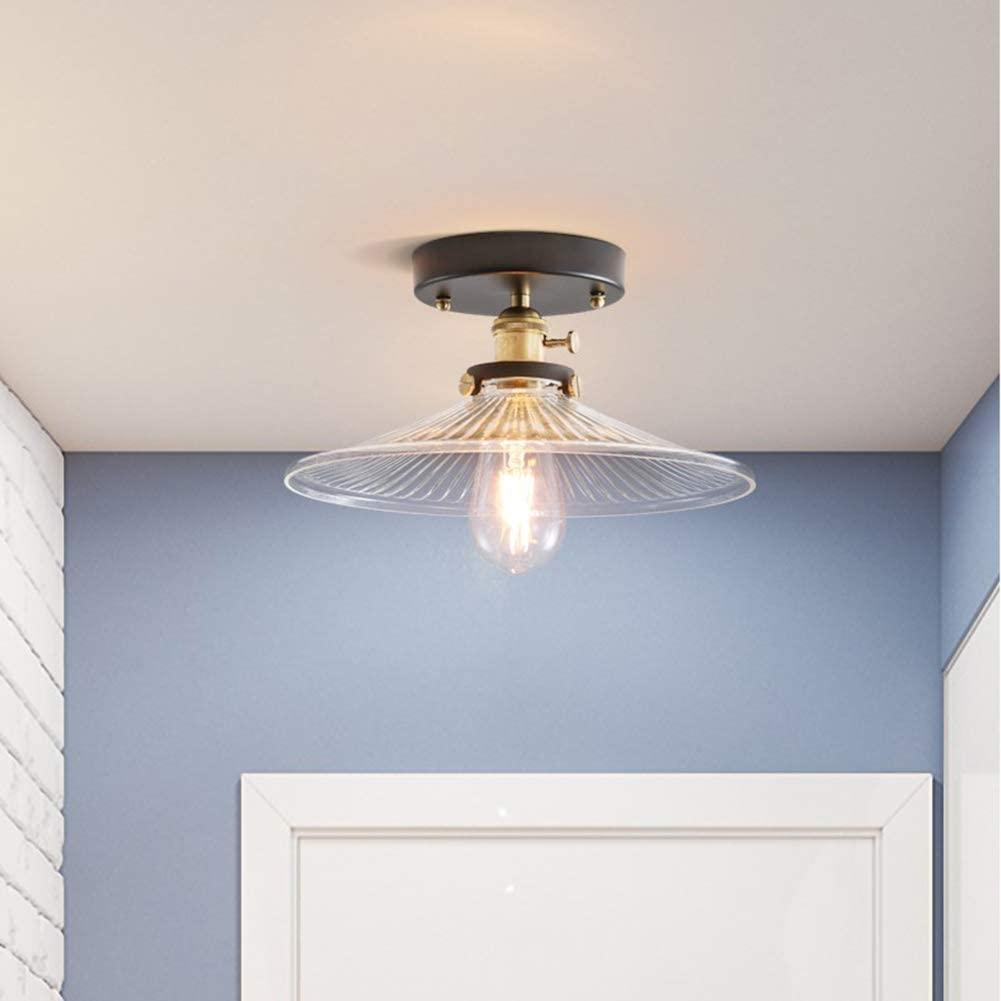 BOSSLV E27 American Style Retro Style Ceiling Light,Glass Chandelier Hallway Bedchamber Balcony 21X12Cm