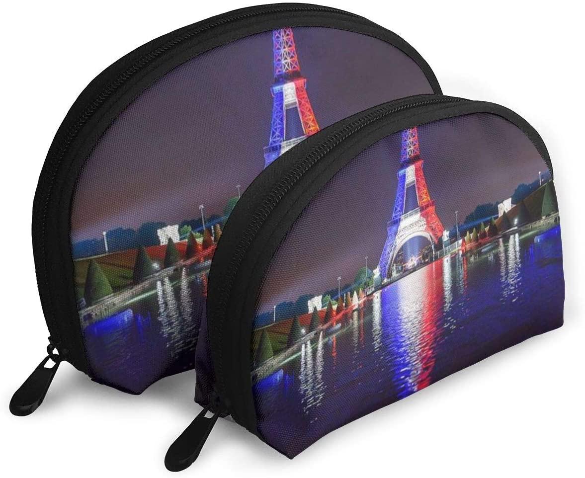 2Pcs Shell Makeup Bags Tour Eiffel Paris France Flag Travel Portable Toiletry Bags Small Makeup Clutch Pouch