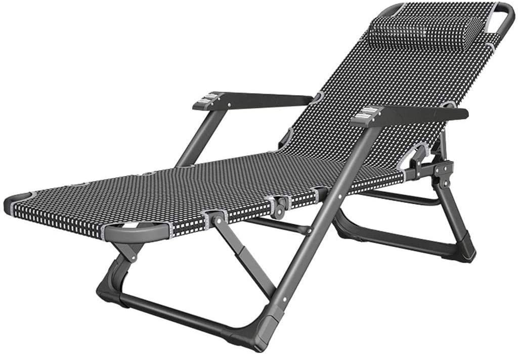 Sun Lounger, Sunbed, Reclining Sun Chair Home Lunch Break Chair Office Portable Folding Chair Adults Lazy Couch Garden Camping Balcony Patio Bath Sun Deck Chair Load Capacity 200kg Happy