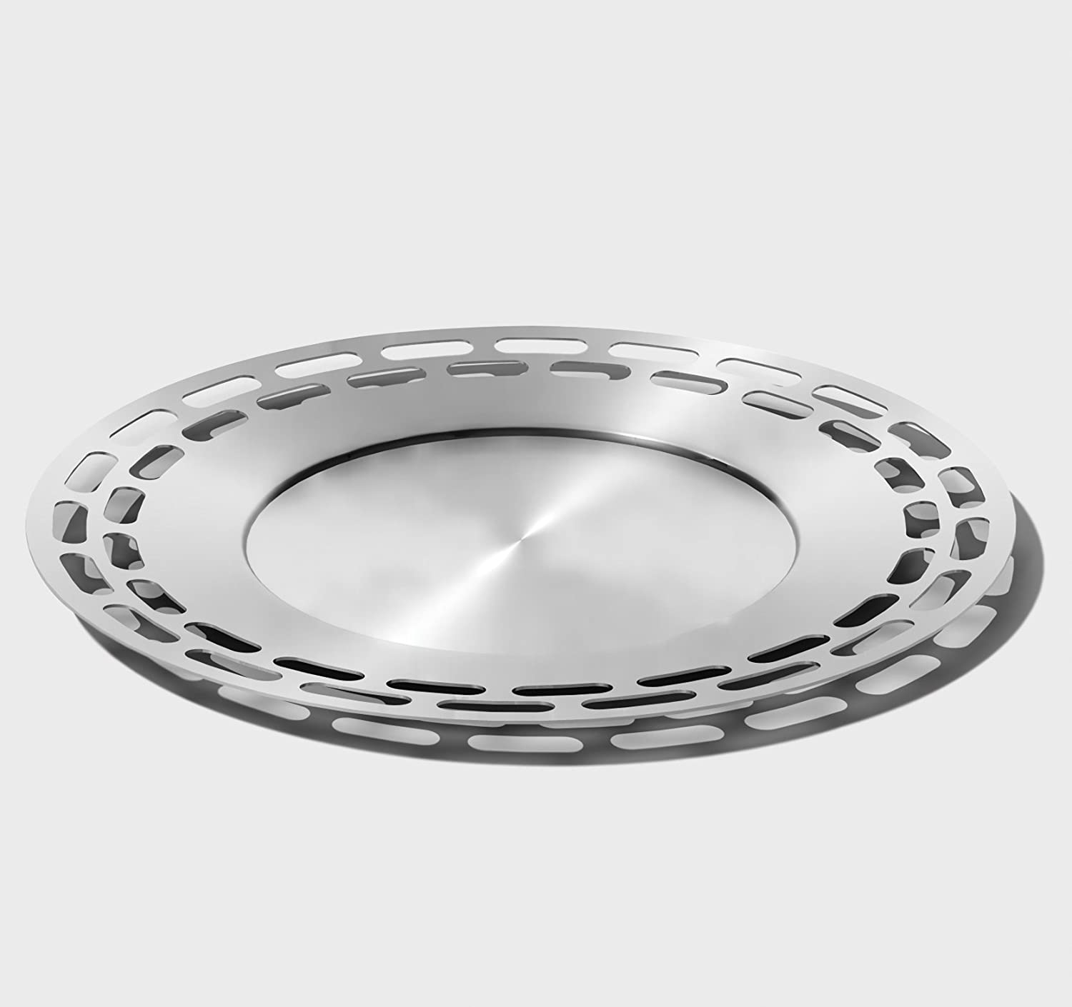 Mod18 Steelworks SB-47 Modern Round Tray, Brushed Stainless, 15