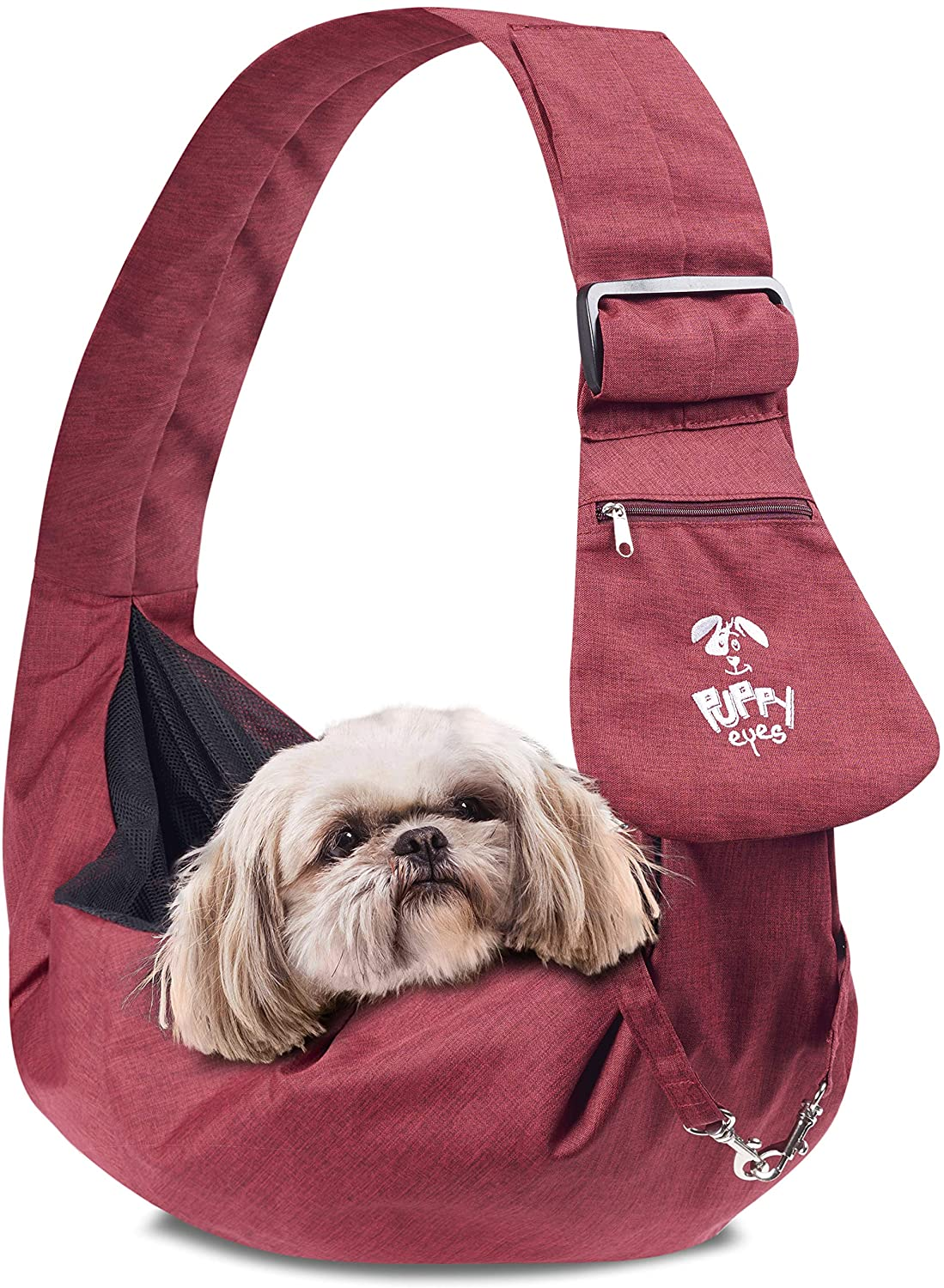 Puppy Eyes Waterproof Pet Carrier Sling Comfortable and Adjustable Dog Sling Ideal for Small and Medium Dogs up to 16 Pounds - Lightweight and Easy-Care Dog Carrier with Safety Mesh and Safety Leash