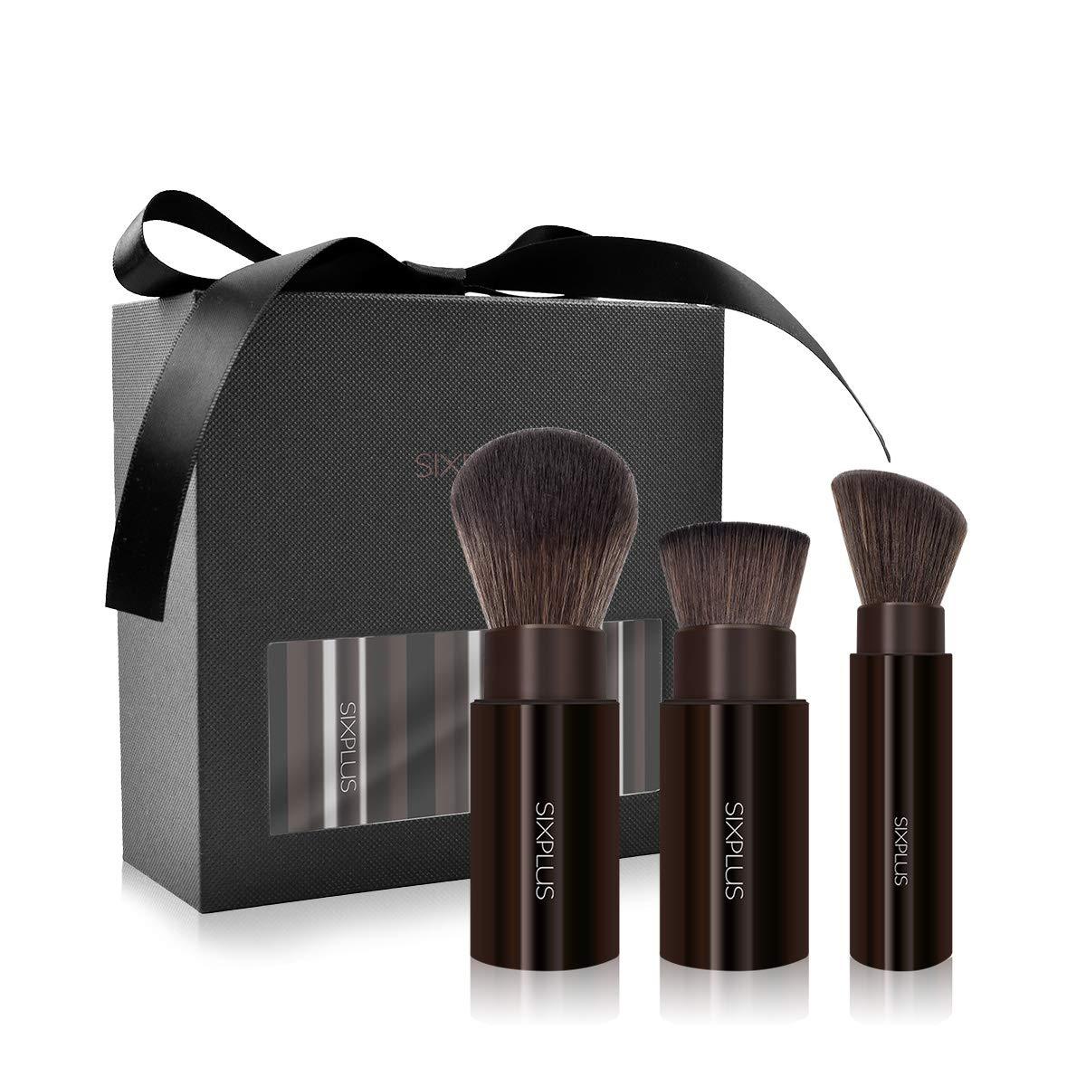 SIXPLUS 3Pcs Retractable and Portable Makeup Brush Set Premium Synthetic Makeup Brushes
