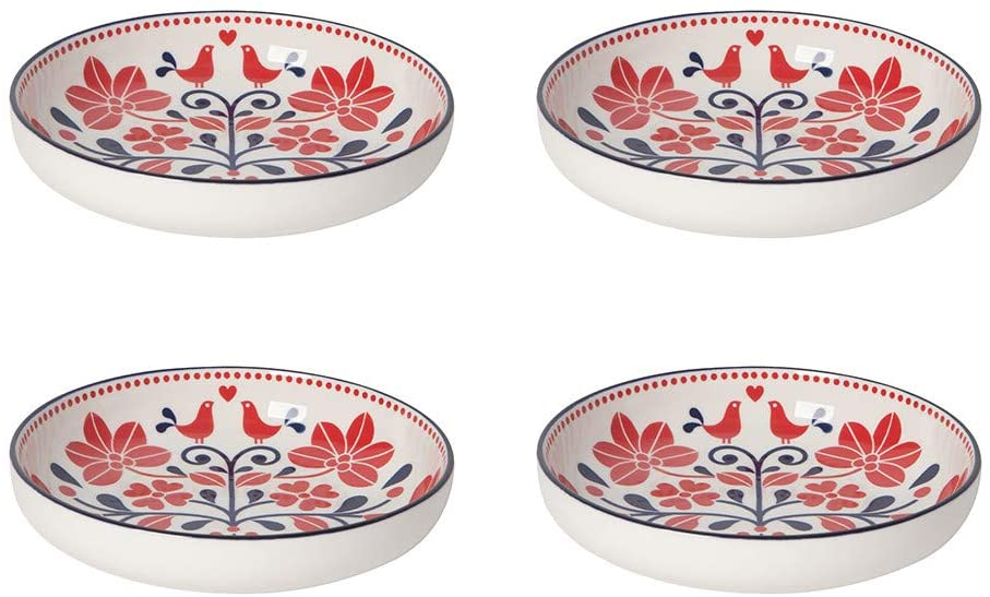 Now Designs Modern Stamped Shallow Bowl, Red Navy Bird - 7 in |Porcelain