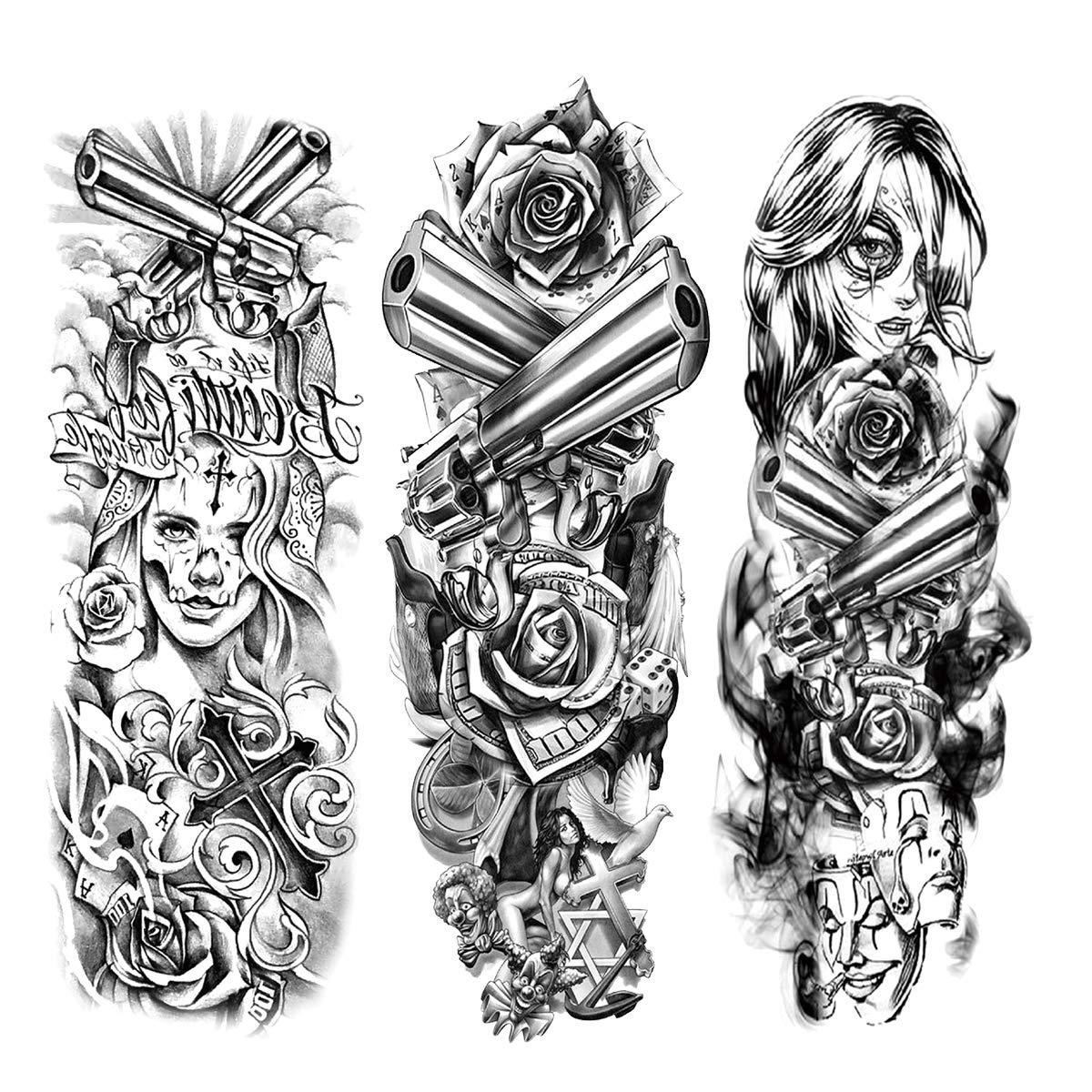 12 PCS Full Arm Temporary Tattoo Stickers, Waterproof Temporary Tattoo, Black Body Tattoo Stickers For Women, Men, Halloween, Party, Masquerade