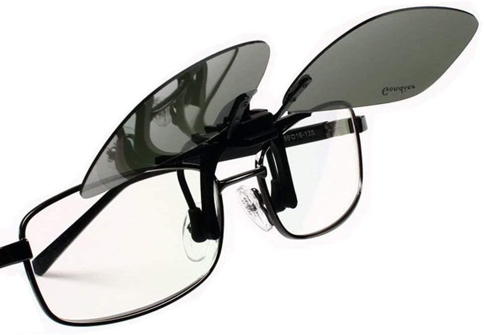 Clip-On Sunglasses: Mens/Womens Flip-Up Polarised Sun Lenses fit Over Prescription Glasses and Readers. 100% Protection Rimless Grey Smoke UV400 Lens (Black)