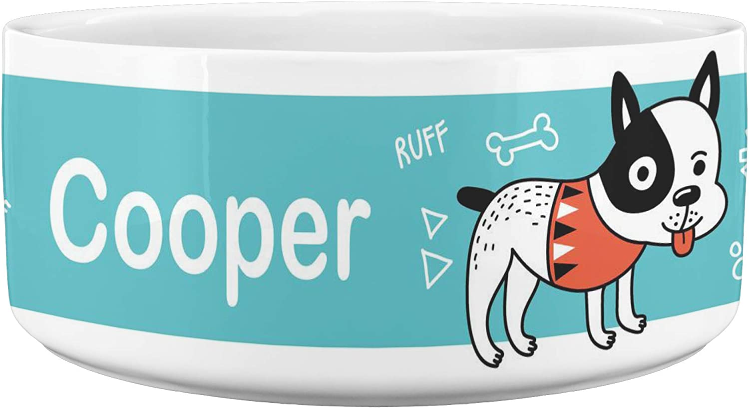 24 sale Personalized Cooper Dog Food or Water Bowl; Colorful Blue Stripe Bowl for Boy Dogs; Small to Medium Dog Food Bowl Holds 40 Ounces; Cute Dog Bowl with High Gloss Premium White Finish
