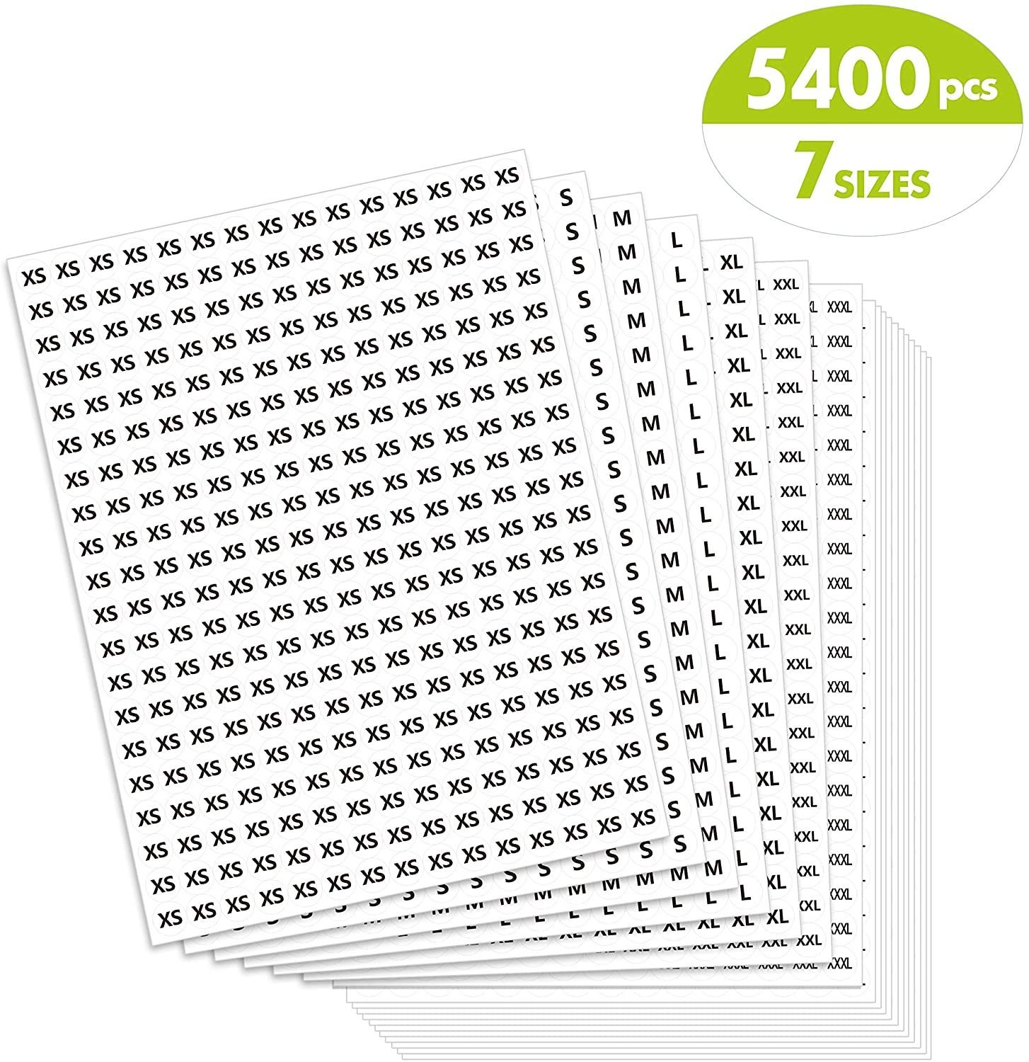 5400 PCs Clothing Size Round Sticker Labels Mega Bundle in 7 Sizes (XS, S, M, L, XL, XXL, XXXL) with Perforation Line, Perfect Proportion, 1/2