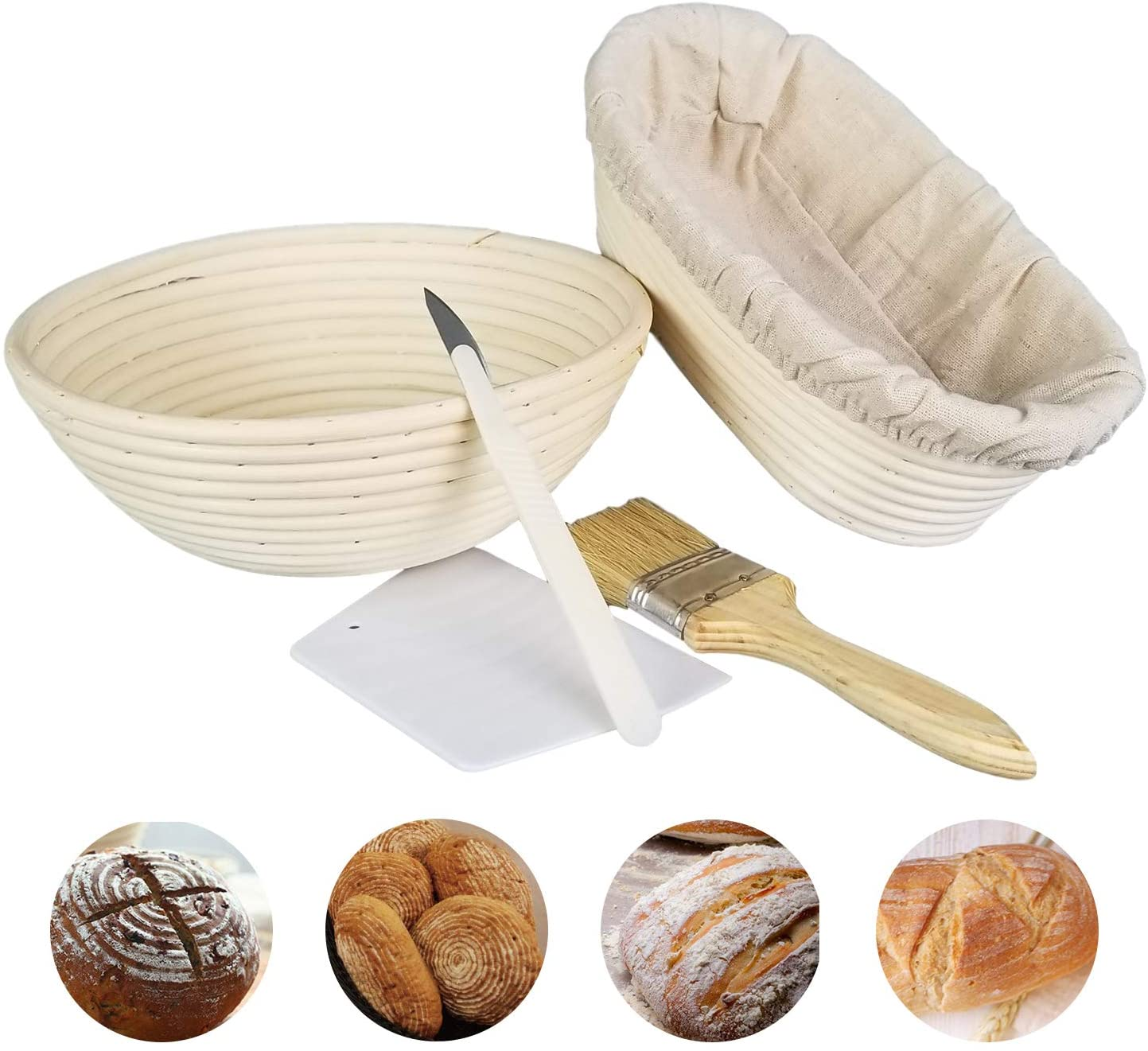 Binano (9-inch-Round) 5 piece,Round or Oval basket+ Brush+Bread Knife+Dough Scraper+Linen Liner Cloth,Bread proofing basket, Proofing baskets for bread baking, for Professional & Home Bakers