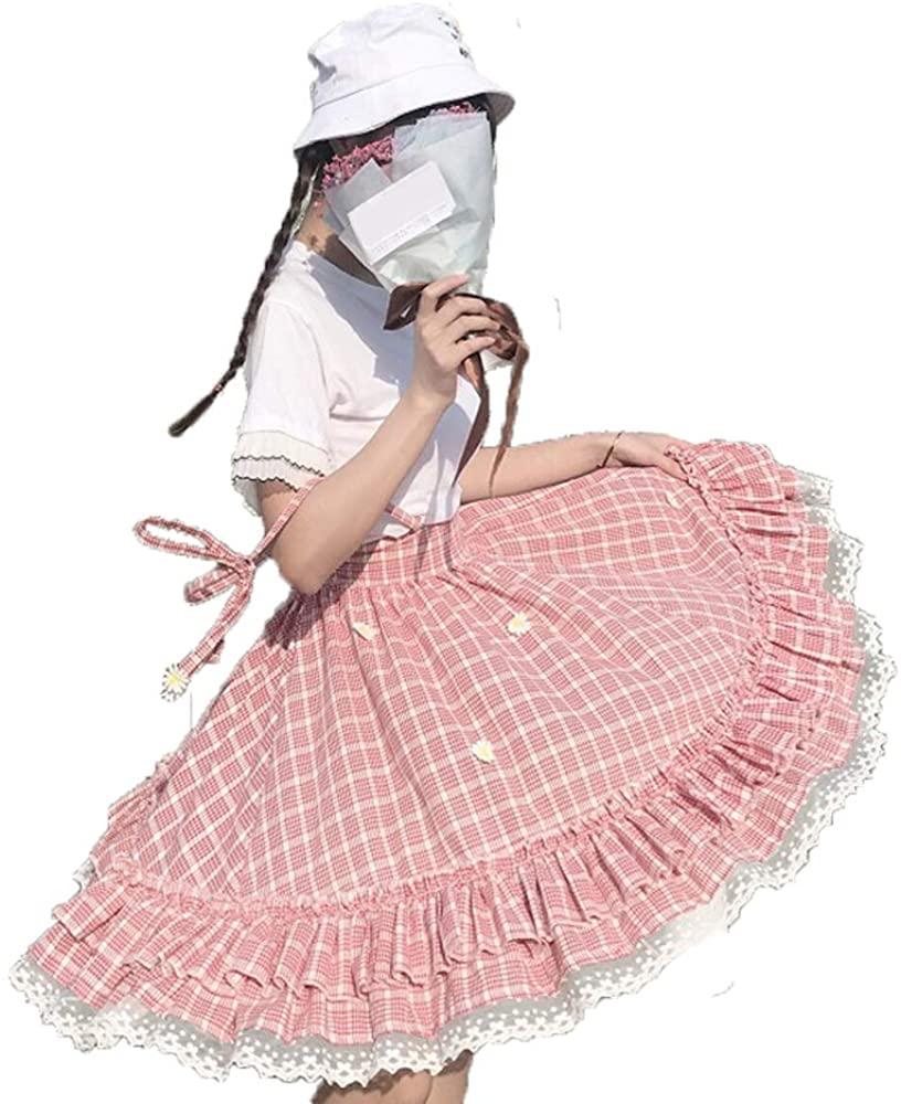 Teen Girls' Plaid Skirt, Cute Floral Summer Elastic Waist Casual A-Line Swing Skirts