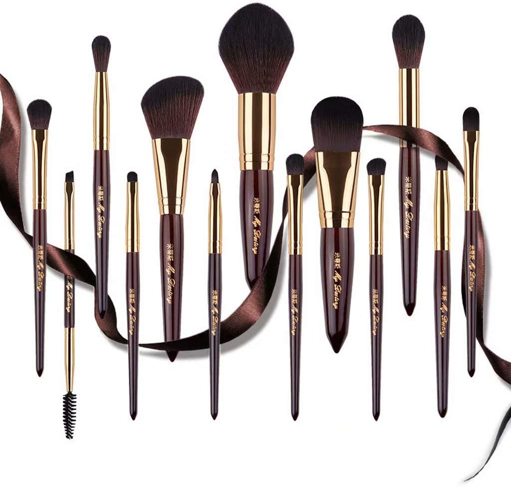 THMY Makeup Brush Set 13Pcs Premium Cosmetic Brushes for Foundation, Blending, Blush, Concealer, Eye Shadow, Cruelty-Free Synthetic Fiber Bristles, Wooden Handle