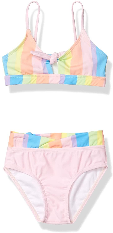 Kensie - Girl's Outerwear Little Kensie Rainbow Stripe One Piece Swimsuit
