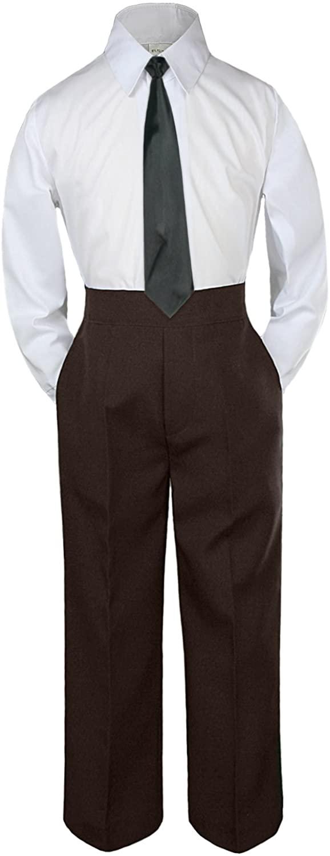 Leadertux 3pc Formal Baby Toddler Boys Black Necktie Brown Pants Suits Sets S-7