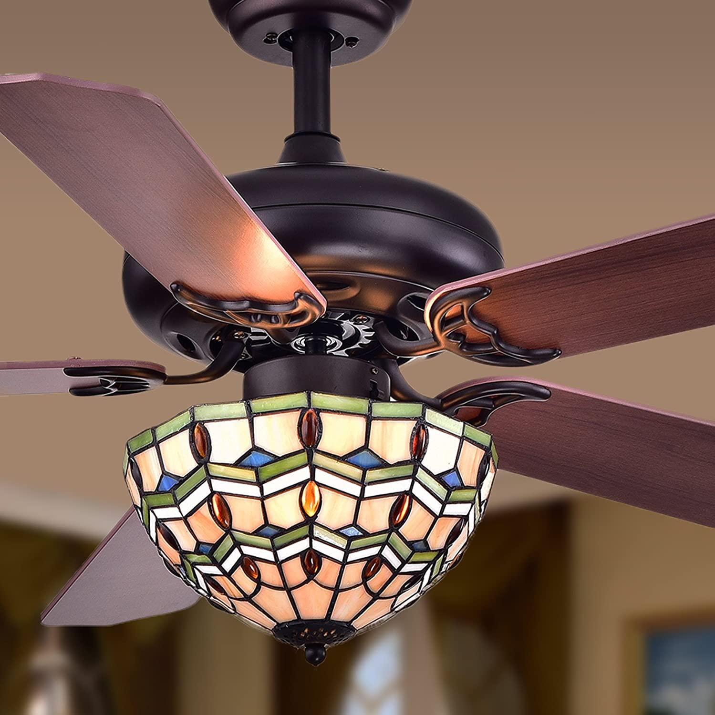 Warehouse of Tiffany CFL-8169BL Doretta Tiffany Bowl 3-Light 42-inch Ceiling Fan