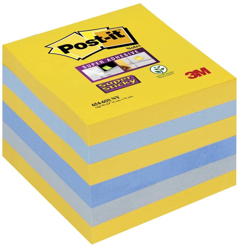 Post-it Super Sticky Notes New York Colours, 6 Pads, 76 mm X 76 mm