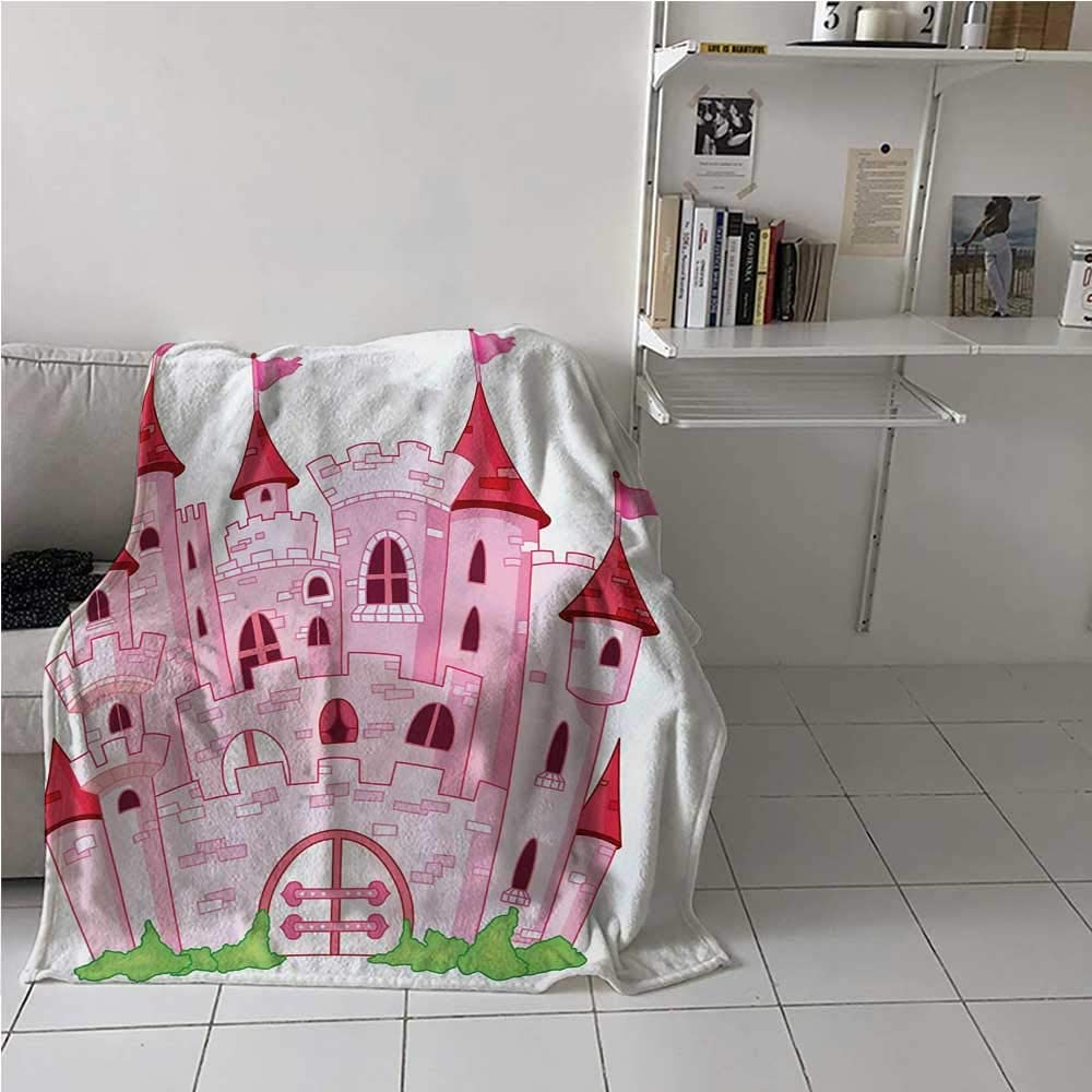 Soft Blanket Princess Castle Cute Fairy Tale Princess Magic Kingdom Cartoon Illustration Art All Seasons Thin Quilt for Adults and Teens Pink White 60 x 80 Inch