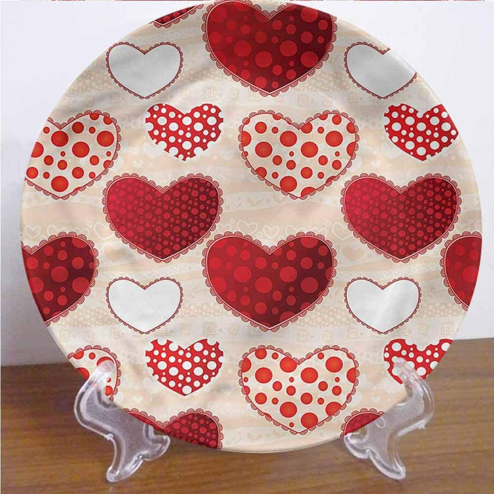 Channing Southey 8 Inch Love Customized Dinner Plate Valentines Day Patchwork Dots Round Porcelain Ceramic Plate Decor Accessory for Pasta, Salad,Party Kitchen Home Decor