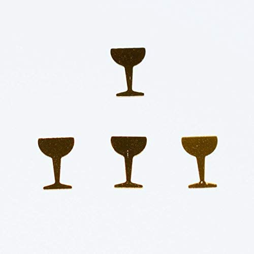 Rarido Cheers! Champagne Bottles & Glasses Confetti Sprinkles 15g Black Winebottle Gold Wine Glass Cup Wedding Party Table Scatters - (Color: Gold Glasses 2, Size: 15g)