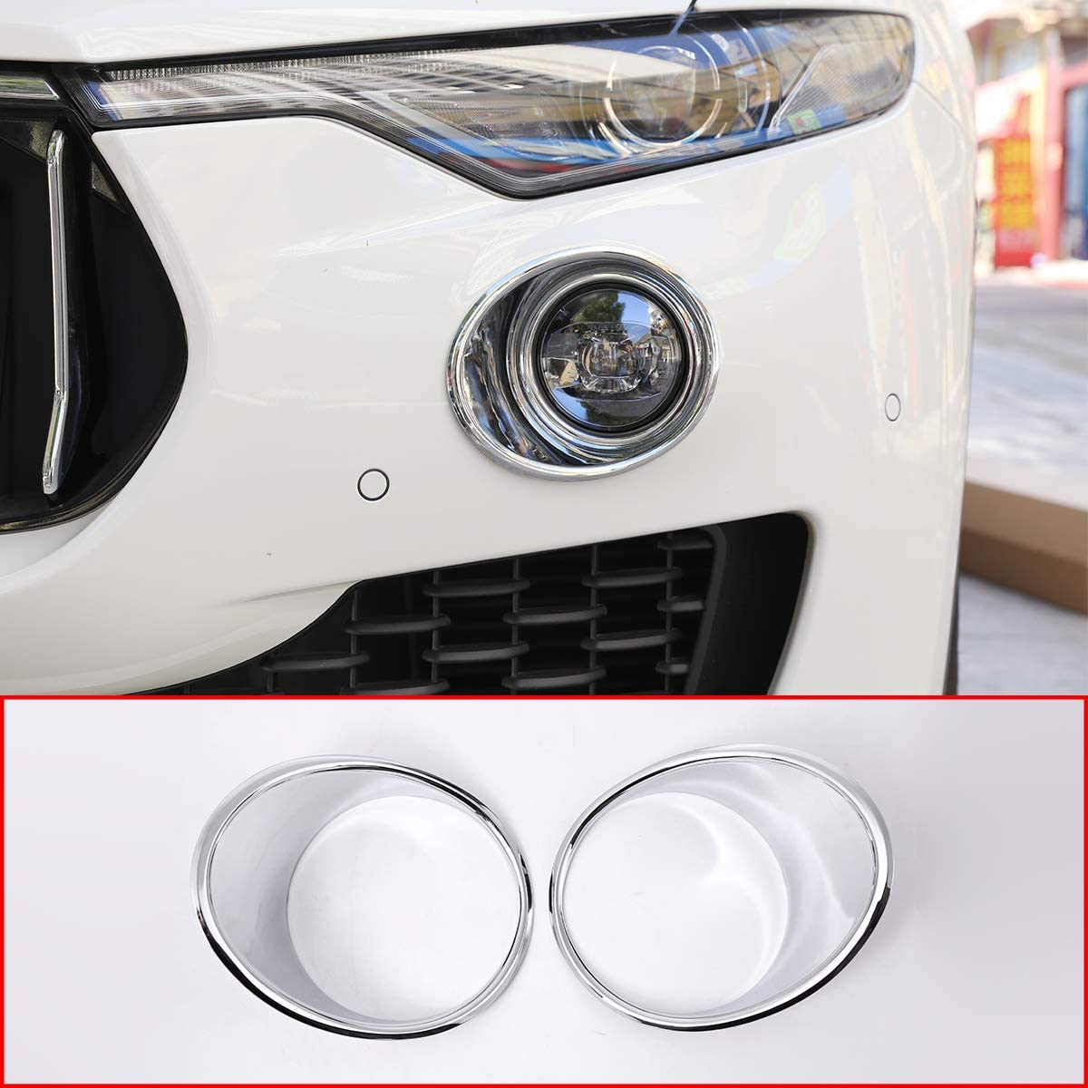 For Maserati Levante 2016 Car Styling Front Fog Light Lamp Decoration Cover Trim Sticker Accessories