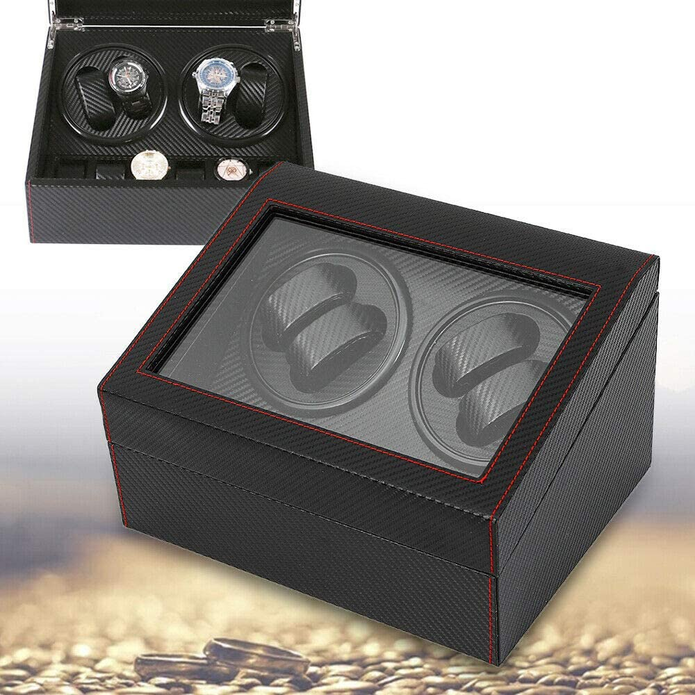 DYRABREST Display Storage Case Box, Automatic Rotation Watch Winder Carbon Fiber Black 4+6 Watch Winder Carbon Fiber PU Leather Display Box Storage(US Stock)