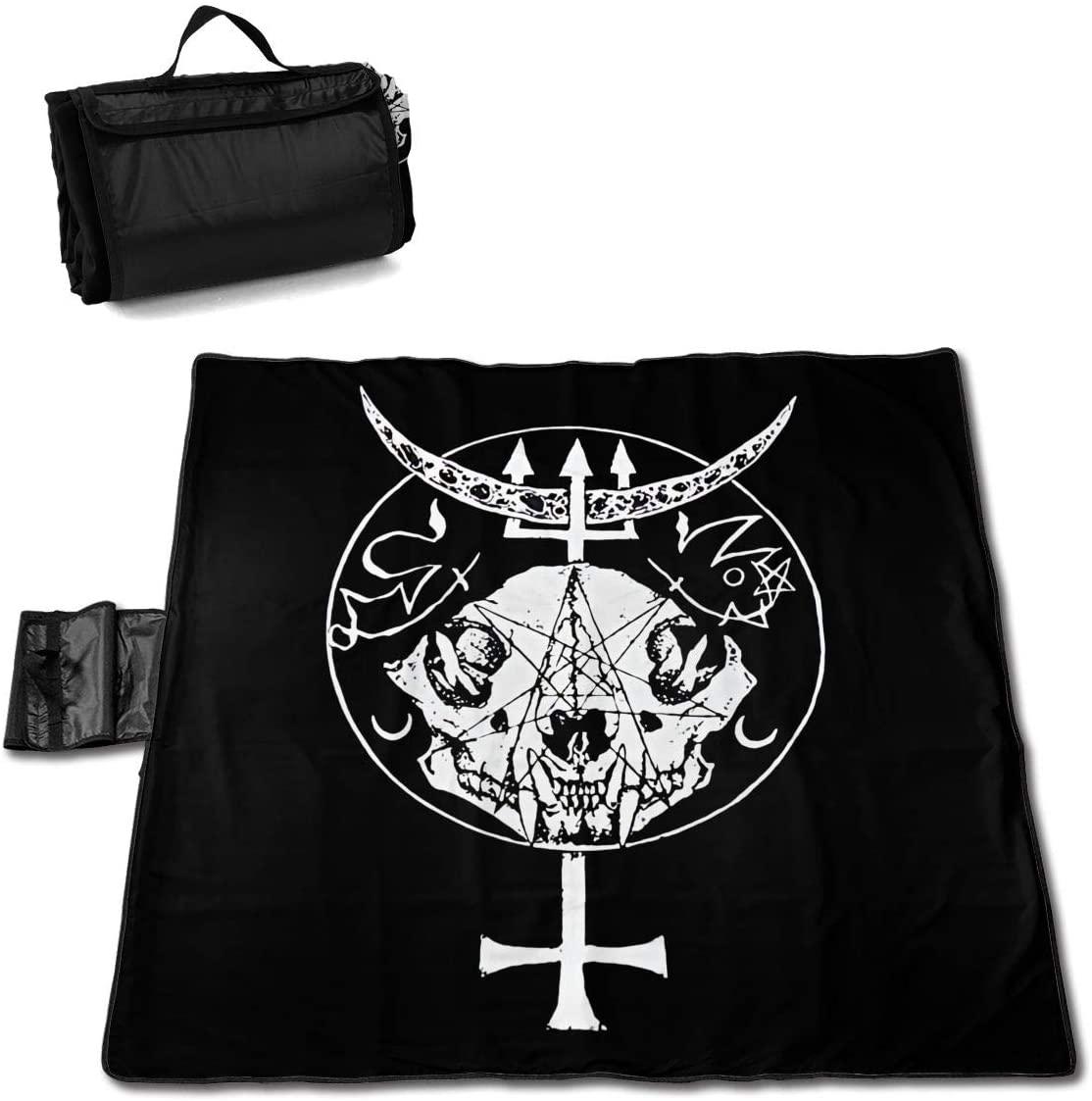 Htu Skull Inverted Cross Portable Printed Picnic Blanket Waterproof 59x57(in)